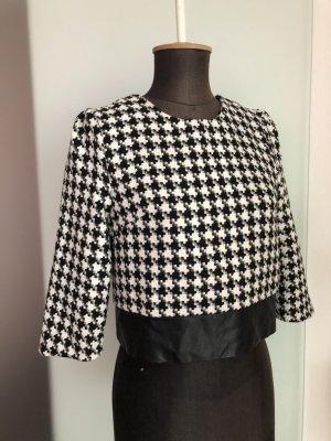 Pullover Oberteil Bluse schwarz -weiß Gr 38 S Wollmischung