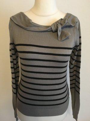 Pullover Oberteil Shirt gestreift mit Schleife süß grau schwarz