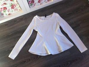 Pullover Oberteil Shirt Muster weiß elegant ausgestellt tailliert neu