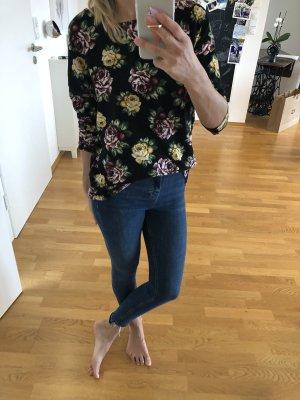 Pullover Oberteil xs s 34 36 only Bluse Blumen Print bunt schwarz Mode Fashion
