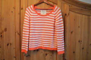 Pullover orange(lachs)-weiß gestreift