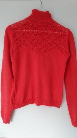 Pullover orange rot schönes Dekoltee