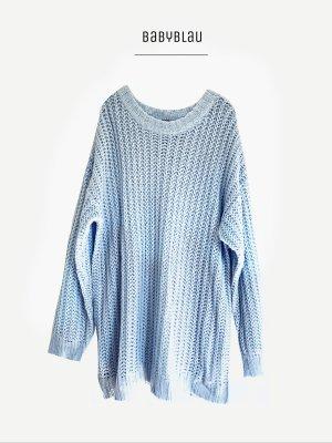 Pullover oversized blau babyblau hellblau Strick Long Pullunder / H&M / L