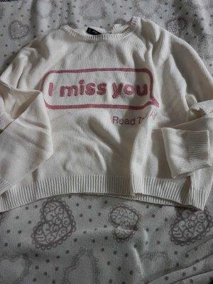 """Pullover oversized, weiß/wollweiß, Gr. S bestickt mit """"i miss you..."""""""
