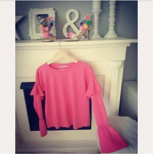 Pullover pink rosa XS ONLY blogger hipster boho Volants Trompeten