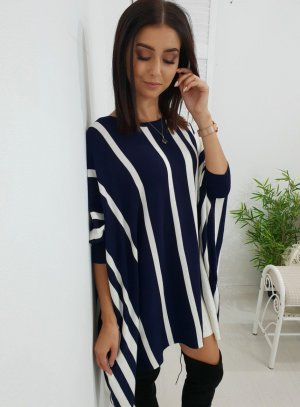 Poncho white-dark blue