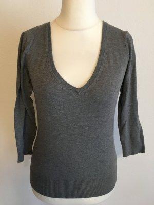 Pullover Pulli Basic V-Neck grau 3/4 Ärmel Gr. M