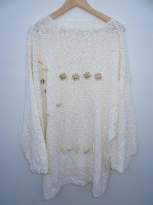 Pullover Pulli beige Muschel Vintage Retro creme oversize Gr. 44 handmade
