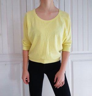 Pullover Pulli gelb pastelgelb pastel s 36 38 sweater hoodie Reißverschluss silber top oberteil