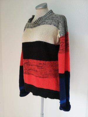Pullover Pulli gestreift orange grau weiß Gr 40 M L Rundhals