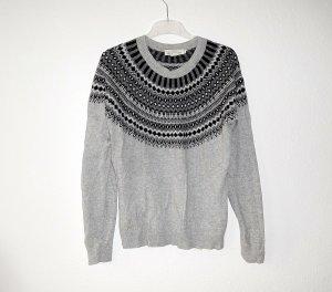 H&M Norwegian Sweater grey-light grey alpaca wool