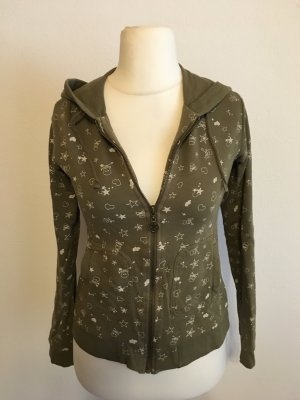 Pullover Pulli Kapuzenpulli Hoodie Zipper khaki mit Print Gr. M
