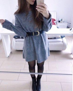 Pullover Pulli Kleid Pulloverkleid Blogger oversize grau 36 S (passt auch M 38 & L 40 )
