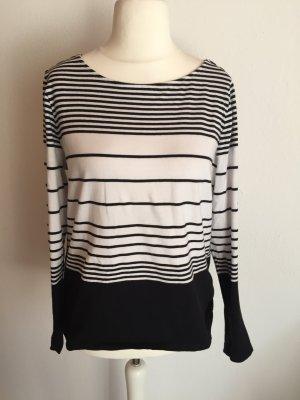 Pullover Pulli Langarmshirt dünn schwarz weiß Gr. 40/42