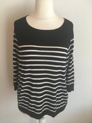 Pullover Pulli leicht 3/4 Ärmel Oversized gestreift schwarz weiß Gr. M