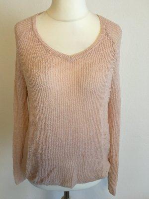 Pullover Pulli leicht rosa nude Strickpullover V-Neck Gr. M