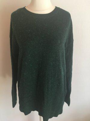 Pullover Pulli Longpullover Strick warm dunkelgrün meliert Gr. M
