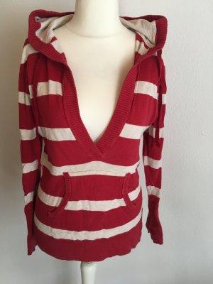 Pullover Pulli mit Kapuze Strickpulli rot weiß Esprit Gr. M