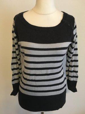 Pullover Pulli Oberteil gestreift süß grau dunkelblau Gr. M