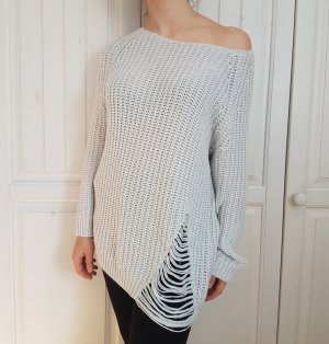 Pullover Pulli Ripped Destroyed Grau Grey White Weiß Strick Strickpullover Sweater