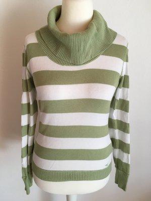 Pullover Pulli Rollkragenpullover gestreift grün weiß Esprit Gr. S TOP