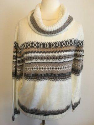 Pullover Pulli Rollkragenpullover warm kuschelig weiß Azteken Gr. M TOP