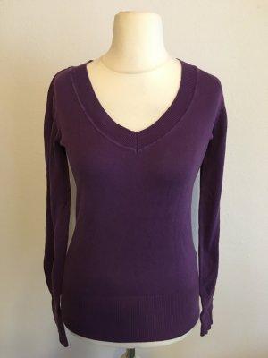 Pullover Pulli Shirt basic V-Neck Langarmshirt lila Gr. S