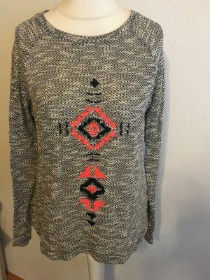 Pullover Pulli Shirt grau weiß meliert boho Azteken Gr. S