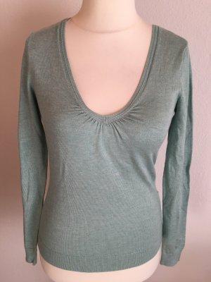 Pullover Pulli Shirt langärmlig Basic V-Neck mintgrün Gr. M