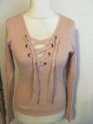 Pullover Pulli Strickpullover mit Schnürung rosa nude Gr. M