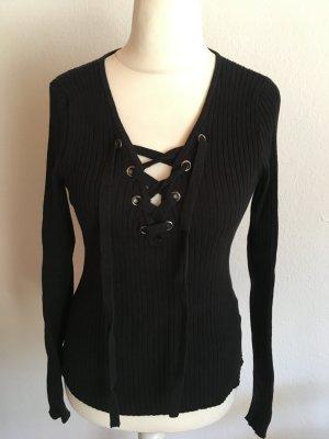 Pullover Pulli Strickpullover mit Schnürung schwarz Hollister Gr. M