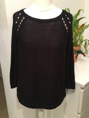Pullover Pulli Strickpullover schwarz Basic locker Gr. M TOP