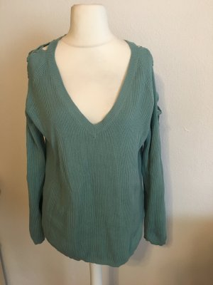 Pullover Pulli Strickpullover V-Neck Cut-Outs mint Gr. 40/42