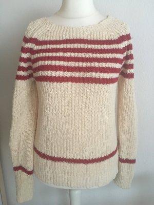 Pullover Pulli Strickpullover warm creme rot warm Gr. S NEU mit Etikett