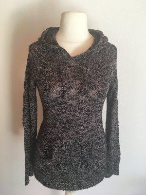 Pullover Pulli Strickpullover warm mit Kapuze schwarz meliert Gr. S