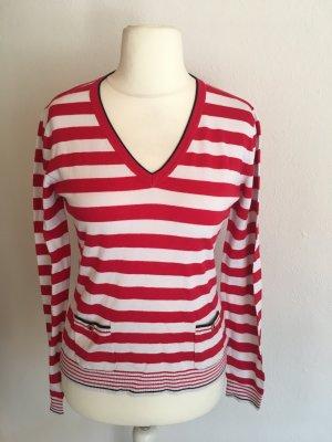 Pullover Pulli V-Neck weich gestreift rot weiß Gr. 38