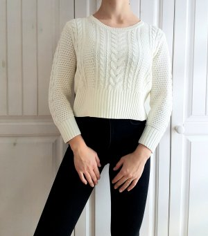 Pullover Pulli weiß Muster flechtmuster Crop Croppulli cropped white Sweater Hoodie 36 S