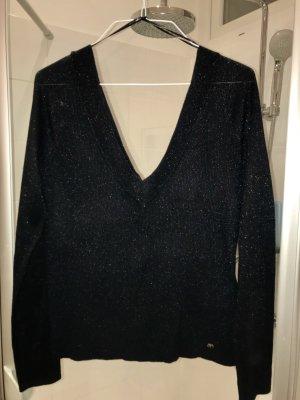 Pullover Ripp V Ausschnitt Glitzer blau