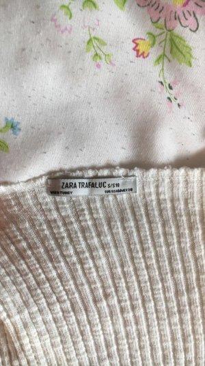 Pullover Rippenstrick weiß ZARA