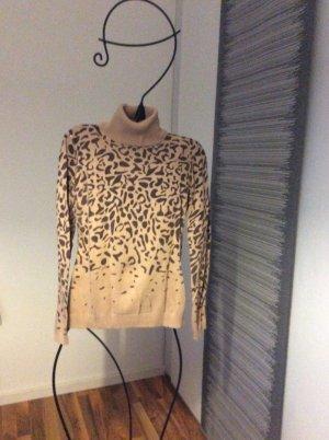 Pullover Rollkragen Leopard hellbraun dunkelbraun Größe S Mango