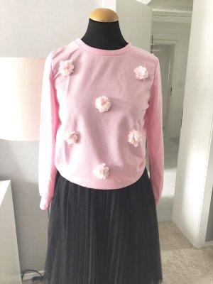 Pullover rosa Gr. S 36 xs-s Sweatshirt mit Tüllblüten Neu! Rundhals
