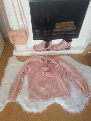 Pullover rosa Pom Pom Bommel S nude blogger hipster boho