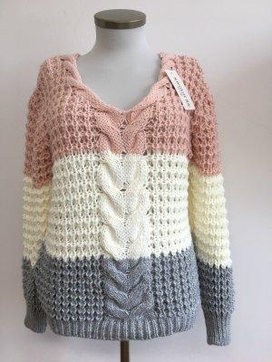 Pullover rose grau weiß Grobstrick