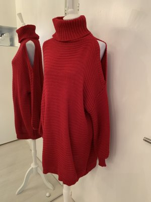 Made in Italy Pull-over à col roulé rouge
