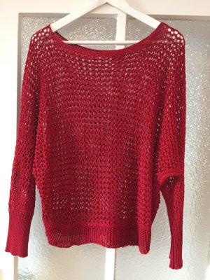 Pullover rot mit Lochmuster 36 / 38