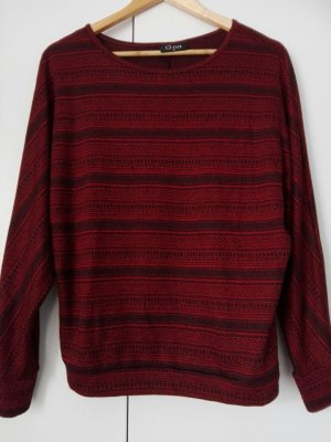 Poncho noir-rouge carmin coton