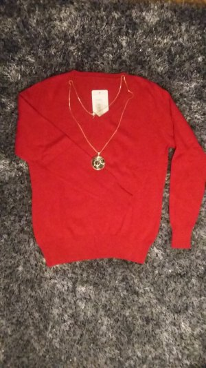 Pullover-Rote Farbe aus Cashmer, Wolle,Mikrofaser