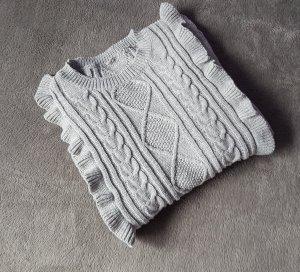 Pullover Rüschen Hellgrau Grau Rüschen Shein Gr. S/ 36
