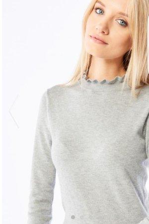 Pullover Rüschen XXS XS 32 34 grau Asos Knit Pulli Longpulli Bluse Cardigan Neu