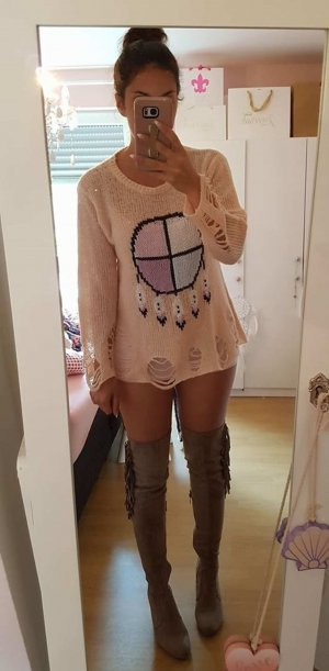 Pullover S Wildfox orig Traumfänger Federn nude rosa blogger hipster boho Löcher